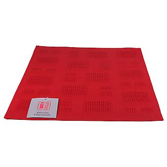 iStyle - Teslin Woven Placemat 30cm x 45cm - Red Squares
