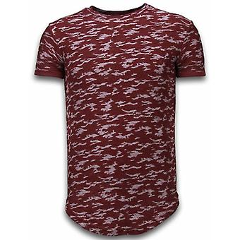 Fashionable Camouflage T-shirt - Long Fit -Shirt Army Pattern - Bordeaux