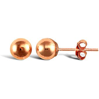 Jewelco London Ladies 9ct Rose Gold Ball Bead Stud Earrings, 5mm