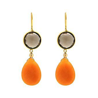Gemshine øredobber røykfylt kvarts, oransje Jade gemstone drop 925 sølv belagt