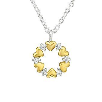 القلب - 925 قلادة فضية الجنيه الاسترليني مرصعة بالجواهر - W36845x