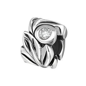 Blatt - jeweled 925 Sterling Silber Beads - W5446X