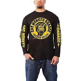 Gas Monkey Garage T Shirt Big Yellow Logo new Official Mens Black Long Sleeve