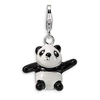 925 Sterling Silver Solid Rhodium plated Fancy Lobster Closure 3 D Enameled Panda With Lobster Clasp Charm Pendant Neckl