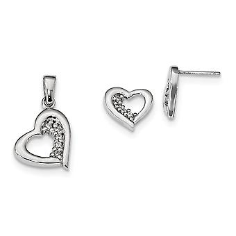 925 Sterling Silver Polished Post Earrings Rhodium plated CZ Cubic Zirconia Simulated Diamond Love Heart Earring and Pen