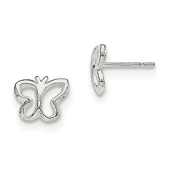 925 Sterling Silver Polished Butterfly Post Earrings - 1.3 Grams