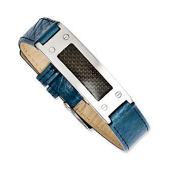 Edelstahl gebürstet einstellbare texturiert blau Leder mit Kohlefaser-Buckle Armband