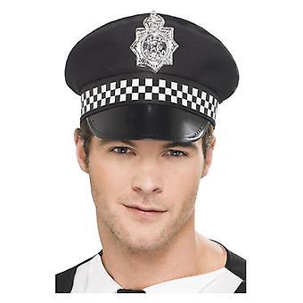 Polizei-Panda Mütze, schwarz, mit Check Band Fancy Dress Zubehör