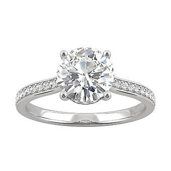14K White Gold Moissanite by Charles & Colvard 7.5mm Round Engagement Ring, 1.74cttw DEW