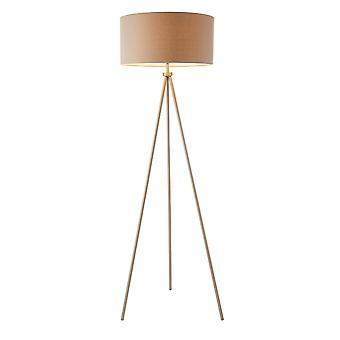 Endon Tri 1 licht vloer lamp Matt nikkel, grijs linnen effect 66987