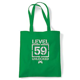 Level 59 Unlocked Video Game Birthday Tote | Age Related Year Birthday Novelty Gift Present | Reusable Shopping Cotton Canvas Long Handled Natural Shopper Eco-Friendly Fashion
