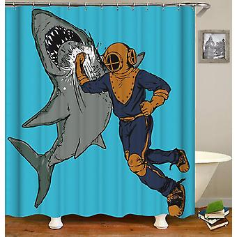Scuba Diver Hitting A Shark Shower Curtain