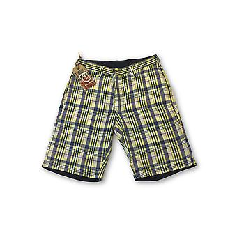 Tailor Vintage reversible shorts in yellow/blue madras