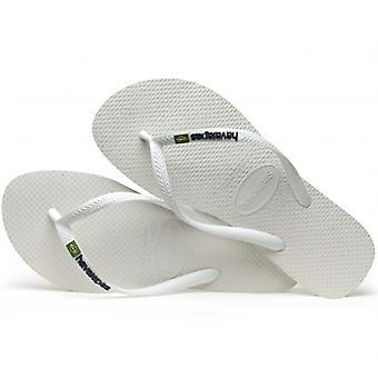 Havaianas Hav Slim Brasil Logo Ladies Flip Flops White