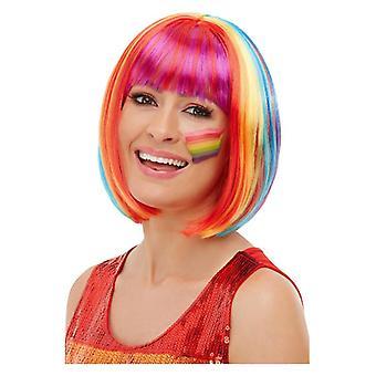 Γυναικεία ουράνιο τόξο Bob περούκα περηφάνια φανταχτερό φόρεμα αξεσουάρ