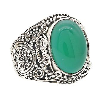Ring Silber 925 Sterlingsilber Grüner Onyx grün Stein (Nr: MRI 160)
