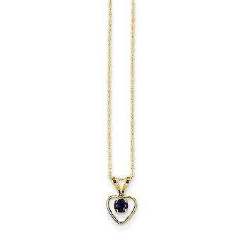 14k Yellow Gold Polished Spring Ring 3mm Sapphire Heart for boys or girls pendant - 15 Inch - Measures 10x6mm