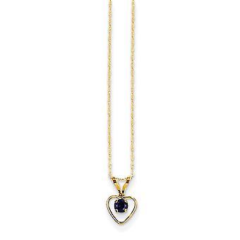 14k Gelb Gold poliert Federring 3mm Sapphire Herz für Jungen oder Mädchen Anhänger - 15 Zoll - Maßnahmen 10x6mm
