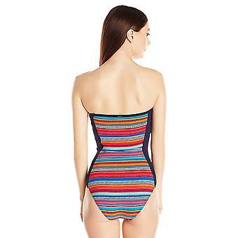 Anne Cole Women's Triangle Stripe Bandeau One Piece Swimsuit,, Multi, Size 8.0