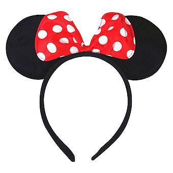 TRIXES Girls Cartoon Mouse Ears with Red and White Polka Dot Satin Bow