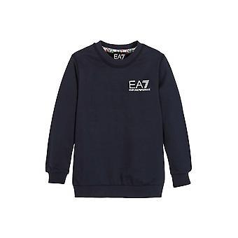 EA7 Junior EA7 Junior Navy Crew Neck Logo Sweatshirt