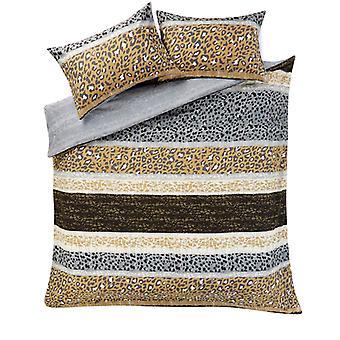 Leopard print multi striper dyne dyne deksel bomull rik sengetøysett