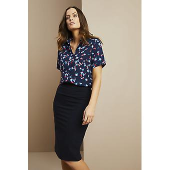 SIMON JERSEY Women's Short Sleeve Open Collar Blouse, Blue Ditsy Floral