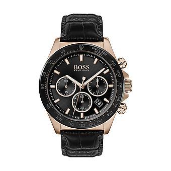 Hugo Boss Uhr 1513753 - Hero Chrono Box Stahl Dor rosa schwarz Lederarmband schwarz Leder armband Männer