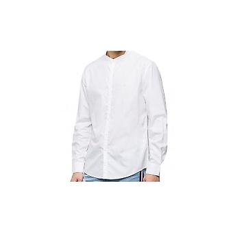 Replay Cotton Slim Fit Grandad Collar White Shirt