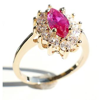 Ah! Jewellery Gold Filled Ruby Marquise Ring. 12 Beautiful Brilliant Round Simulated Diamonds Surrounding A Stunning Marquise Cut Ruby Lab Diamond.