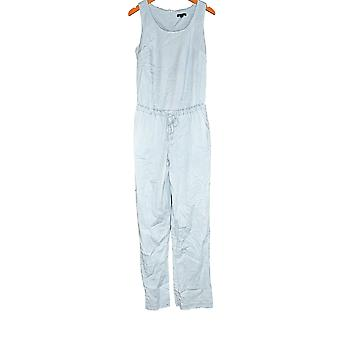 H by Halston Jumpsuits Stretch Chambray Sleeveless Light Blue A277948