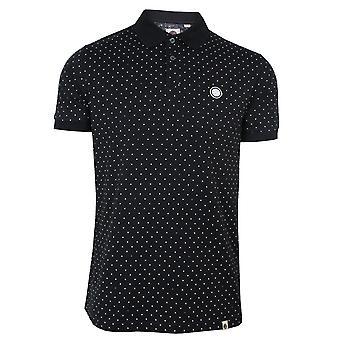 Camisa polo de bolinhas pretas e verdes