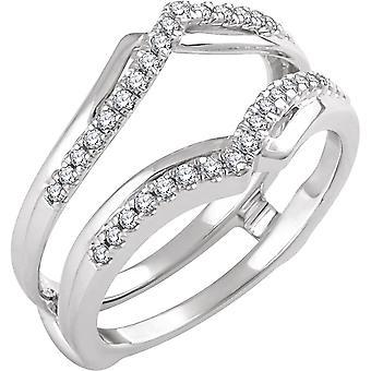 14k Vit Guld Storlek 7 polerad 0,25 Dwt Diamond Ring Guard smycken gåvor för kvinnor