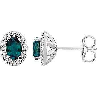 925 Sterling Silver Created Alexandrite Polished Alexandrite And .025 Dwt Diamond Earrings Jewelry Gifts for Women