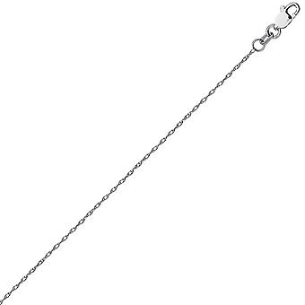 14k White Gold 0.85mm Light Weight Rope Chain Necklace Lobster Claw Closure Jewelry Gifts for Women - Length: 16 to 20