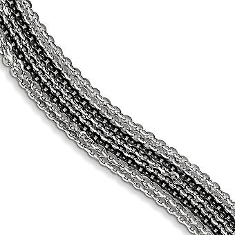 925 Sterling Silver Rhodium and Ruthenium plated Multi Strand Bracelet 7.5 Inch Jewelry Gifts for Women
