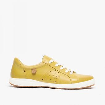 Josef Seibel Caren 01 Ladies Leather Casual Trainers Yellow