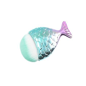 Makeup Brush, Mermaid - Turquoise, round