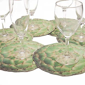 6 glass coasters motif artichoke Green