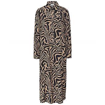 Ganni Zebra Print Crepe Dress