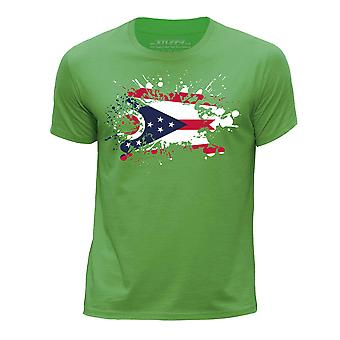 STUFF4 Chłopca rundy szyi T-shirty-Shirt / / Ohio USA państwa bandery Splat zielony