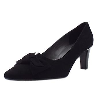 Peter Kaiser Mallory Mid Heel Pointed Toe Court Shoes In Black Suede