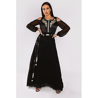 Lebssa hortence cold shoulder long sleeve occasion wear formal long maxi dress and belt in black