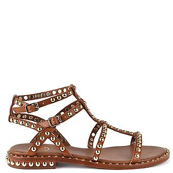 Ash PRECIOUS Sandals Brown Leather & Gold Studs