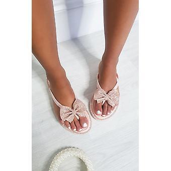 IKRUSH Vrouwen Nina Diamante Bow Flip Flop Sandalen