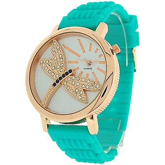 Relda Ladies Dragonfly Dial with Crystals Green Rubber Strap Watch REL38