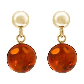 Gemshine earrings gold orange amber drop 925 silver or high quality gold plated