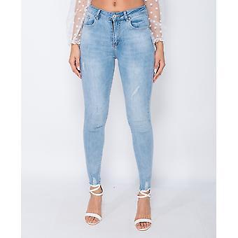 Frayed Him Mid Waist Skinny Jeans - Ladies - Blue