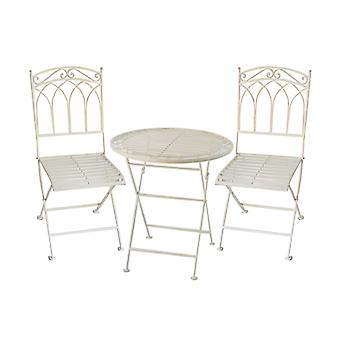 Charles Bentley Rustic Wrought Iron Bistro Set Lightweight Garden Outdoor, Strong & Sturdy in an Antique White