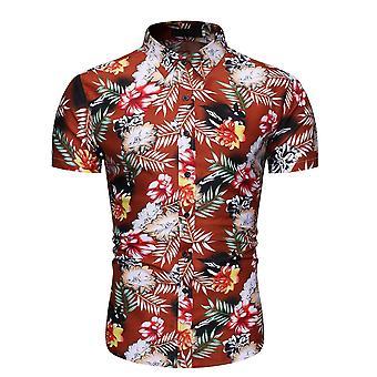 Allthemen Men's Lapel Floral Printed Short Sleeve Shirt Summer Casual
